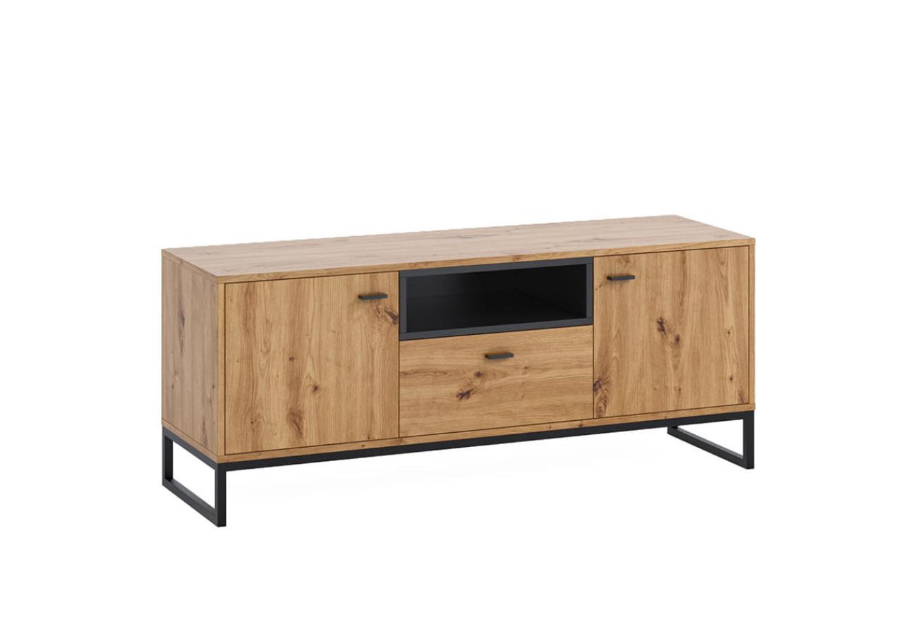 Szafka RTV OLIER OL7 dąb artisan w industrialnym stylu drewno metal