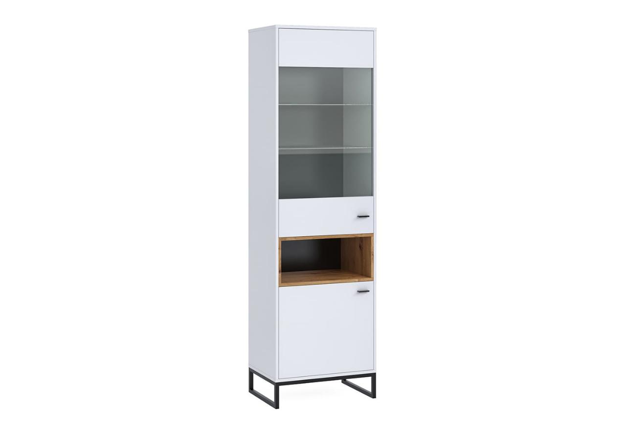 Witryna stojąca OLIER OL13 biała w industrialnym stylu drewno metal