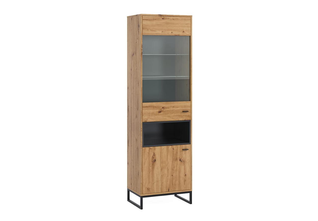 Witryna stojąca OLIER OL13 dąb artisan w industrialnym stylu drewno metal