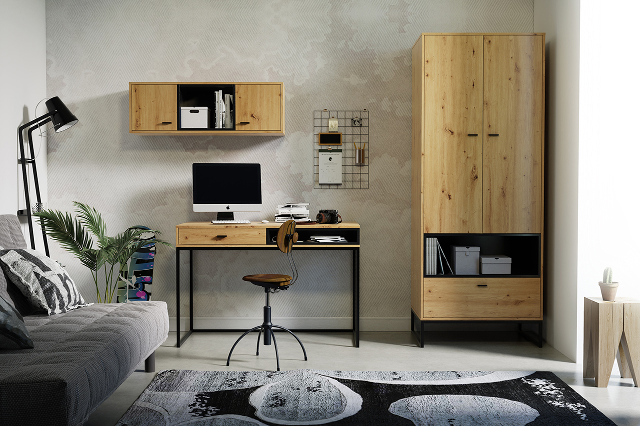 Meble OLIER 3 w stylu industrialnym do pokoju młodzieżowego drewno metal