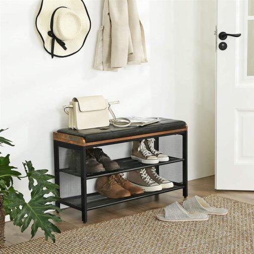 Rustykalna szafka na buty z siedziskiem VASAGLE do przedpokoju