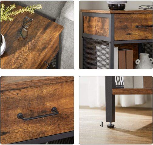 Industrialny stolik nocny LOFT drewno metal LET058B01 - VASAGLE