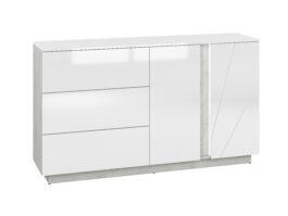 Komoda LORA LA06 biały połysk / beton