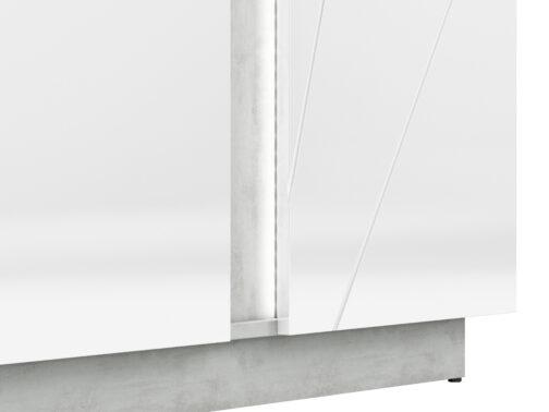 Komoda LORA LA06 LUMENS 06 z szufladami i półkami - biały połysk + beton srebrny ML MEBLE