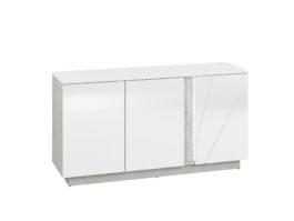 Komoda LORA LA08 biały połysk / beton