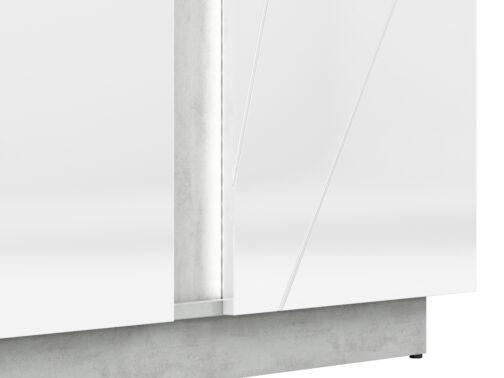 Komoda LORA LA08 LUMENS 08 z półkami zamkniętymi za frontem - biały połysk + beton srebrny ML MEBLE