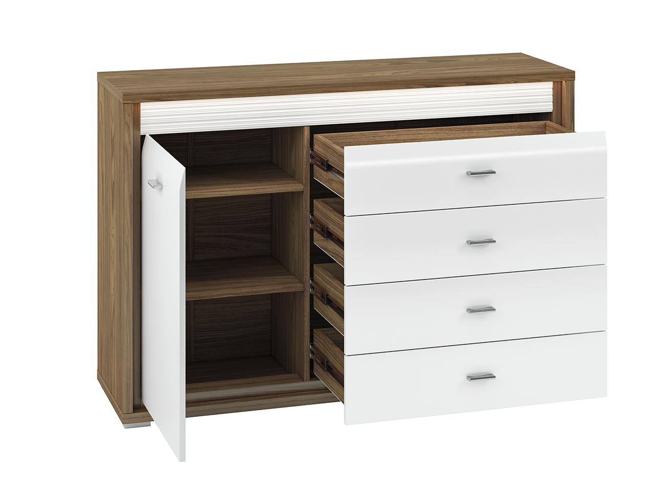Komoda ORLANDO OR03 Dallas z szufladami i półkami - orzech naturalny biały połysk