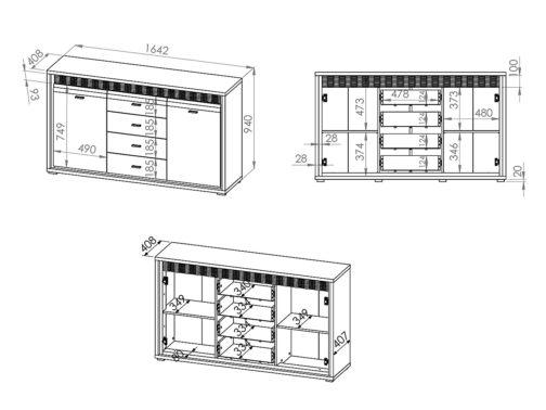 Komoda ORLANDO OR04 Dallas z szufladami i półkami - orzech naturalny biały połysk