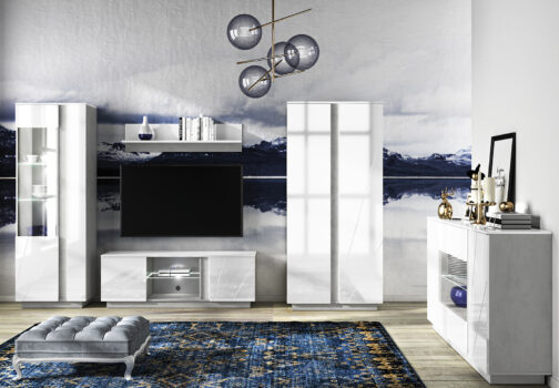 Zestaw mebli do salonu LORA 6 meble LUMENS - biały połysk + beton srebrny ML MEBLE