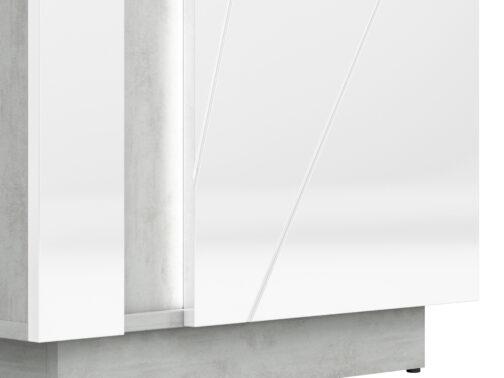 Szafa LORA LA02 LUMENS - biały połysk + beton srebrny ML MEBLE