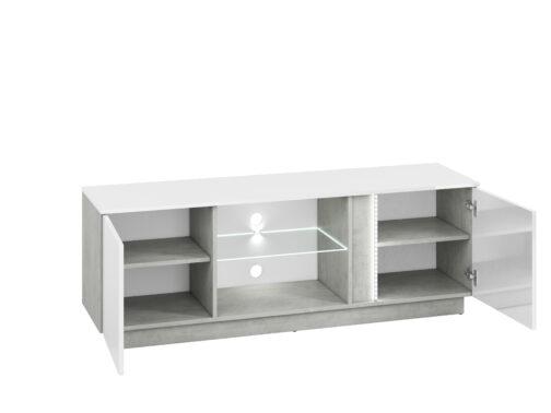 Szafka RTV LORA LA09 LUMENS 09 z półkami zamkniętymi za frontem - biały połysk + beton srebrny ML MEBLE