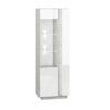 Wysoka witryna LORA LA03L LUMENS 03 - biały połysk + beton srebrny ML MEBLE