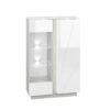Oszklona witryna LORA LA04 LUMENS 04 - biały połysk + beton srebrny ML MEBLE