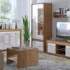 Zestaw mebli do salonu ORLANDO 2 meble DALLAS - orzech naturalny i biały połysk ML MEBLE