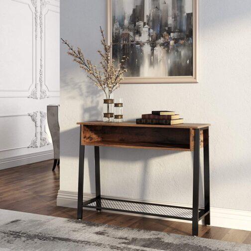 Industrialna konsola z wnęką stolik do salonu VASAGLE LNT93X