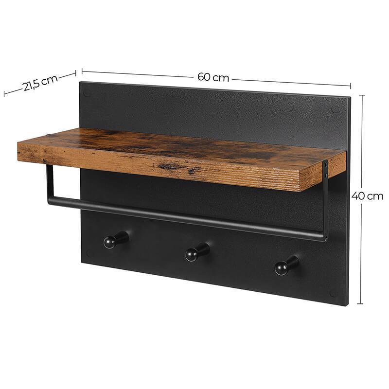 Industrialna półka z wieszakami do przedpokoju VASAGLE LWS031B01