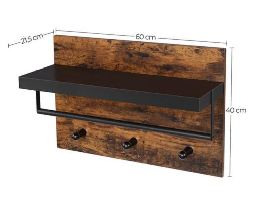 Industrialna półka z wieszakami do przedpokoju rustykalny brąz VASAGLE LWS031X01