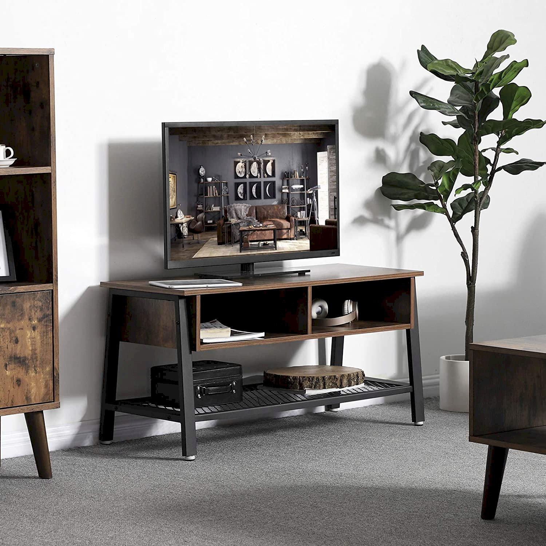 Industrialny szafka RTV konsola pod TV z półkami LOFT drewno metal LTV92X - VASAGLE