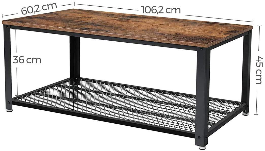 Industrialny stolik kawowy ława rustykalny brąz LOFT VASAGLE LCT61X