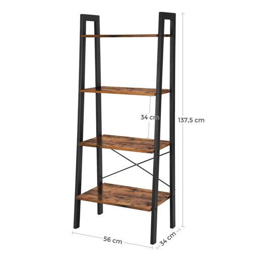 Industrialny regał z 4 półkami LOFT drewno metal LLS44X - VASAGLE