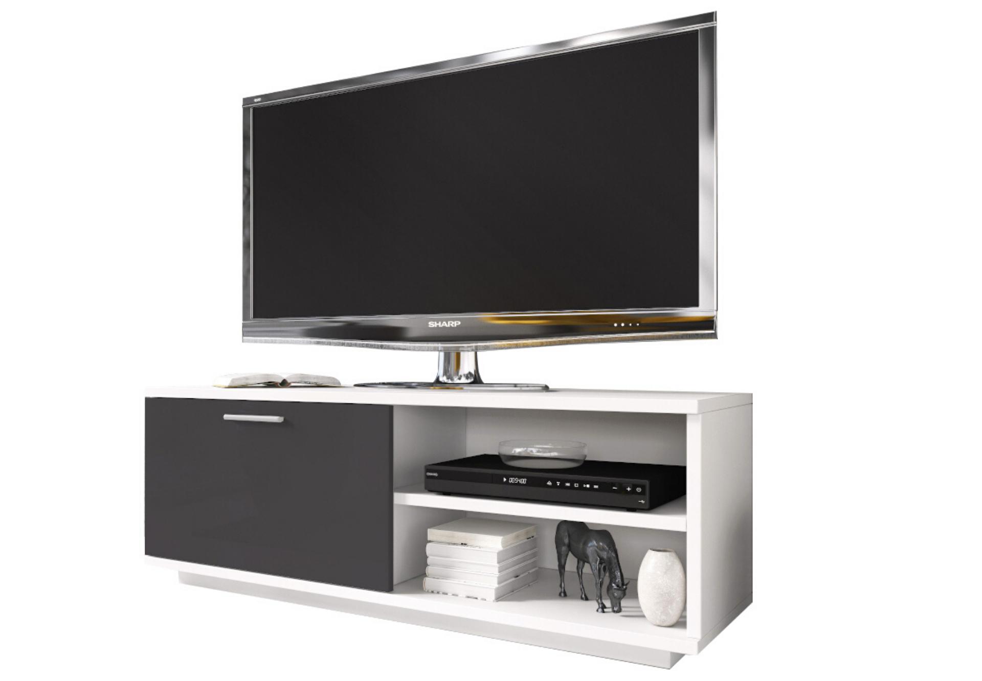 Szafka RTV GLAMOUR Biały + Grafit - - z zamykaną szafką i 2 wnękami - biała komoda TV