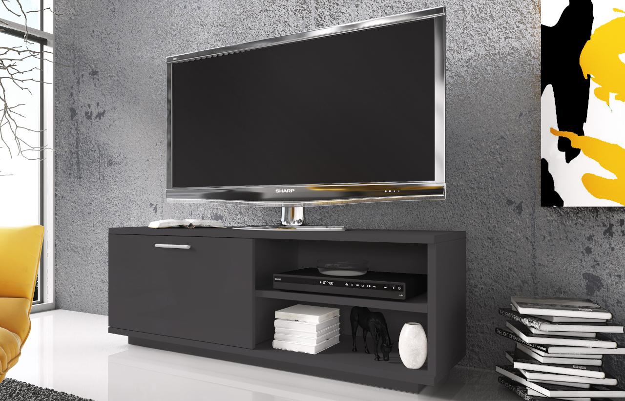 Szafka RTV GLAMOUR Grafit z zamykaną szafką i 2 wnękami - biała komoda TV