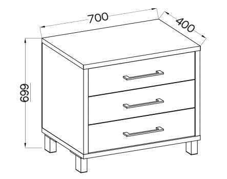 Komoda ROMA 3s - mała komoda do pokoju 3 szuflady