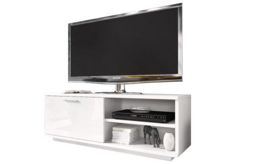 Szafka RTV GLAMOUR Biały+ Biały - z zamykaną szafką i 2 wnękami - biała komoda TV