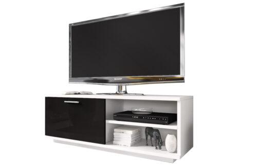 Szafka RTV GLAMOUR Biały+ Czarny - z zamykaną szafką i 2 wnękami - biała komoda TV