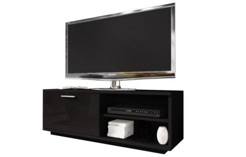 Szafka RTV GLAMOUR Czarny + Czarny - z zamykaną szafką i 2 wnękami - czarna komoda TV