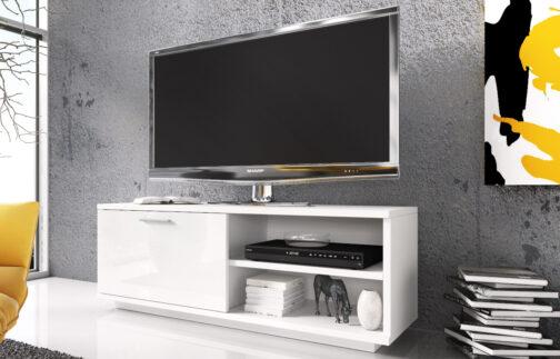 Szafka RTV GLAMOUR Biały+ Biały połysk - z zamykaną szafką i 2 wnękami - biała komoda TV