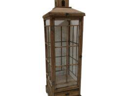 Dekoracyjna lampa drewniana 130cm z szufladą brązowa
