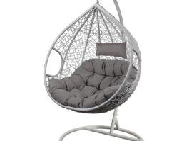 Fotel bujany Cocoon roz.l z technorattanu szary biały