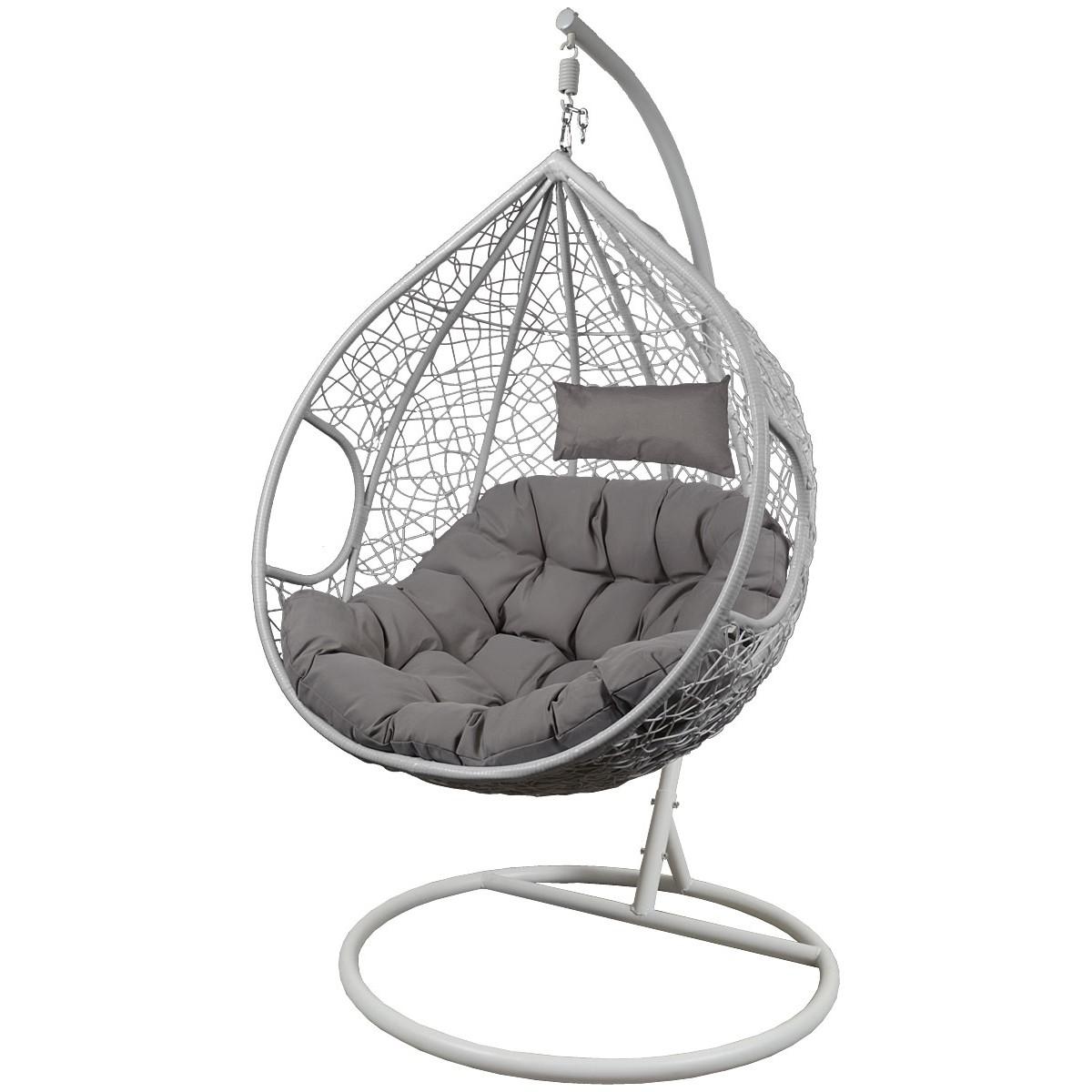 Fotel bujany Cocoon roz.l z technoratanu szary biały
