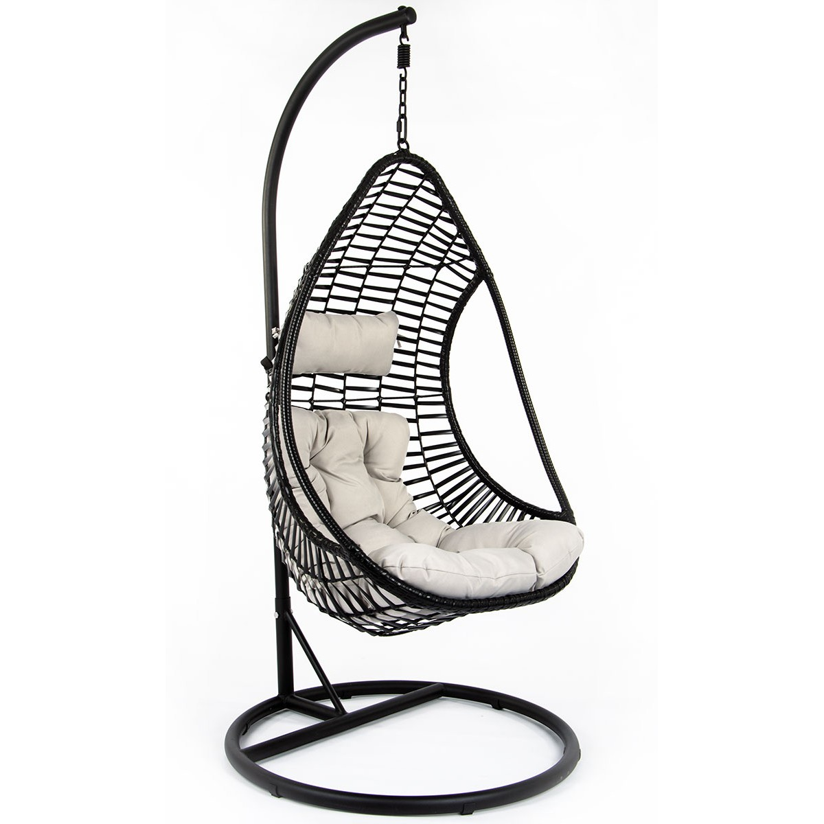 Huśtawka fotel wiszący kokon Crescent Delux czarny szary