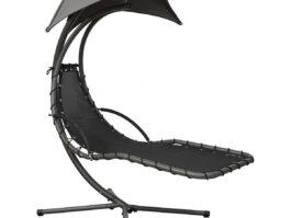 Huśtawka fotel wiszący z parasolem Lizbona szary