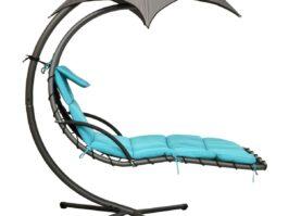 Huśtawka fotel wiszący z parasolem Lizbona szaro-turkusowa