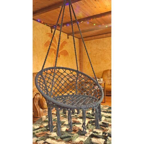 Hamak bocianie gniazdo fotel wiszący 80x60cm szary