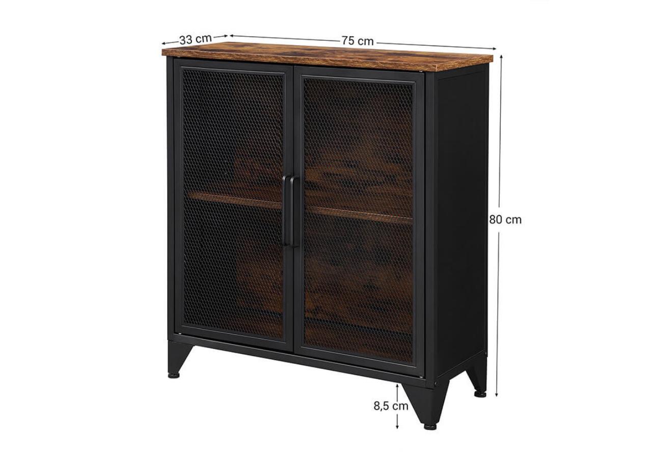 Industrialna komoda loft VASAGLE z ażurowymi drzwiami drewno metal LSC052B01
