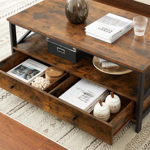 Industrialny stolik kawowy z szufladami VASAGLE LCT21BX