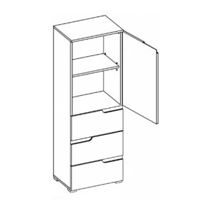 Szafka SELENE 11 1-drzwiowa z 3 szufladami biały połysk SZYNAKA MEBLE