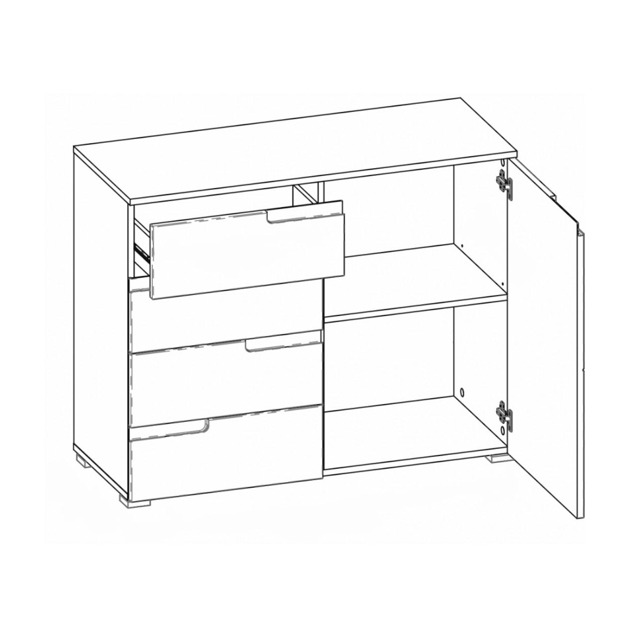 Komoda SELENE 5 1-drzwiowa z 4 szufladami biały połysk SZYNAKA MEBLE
