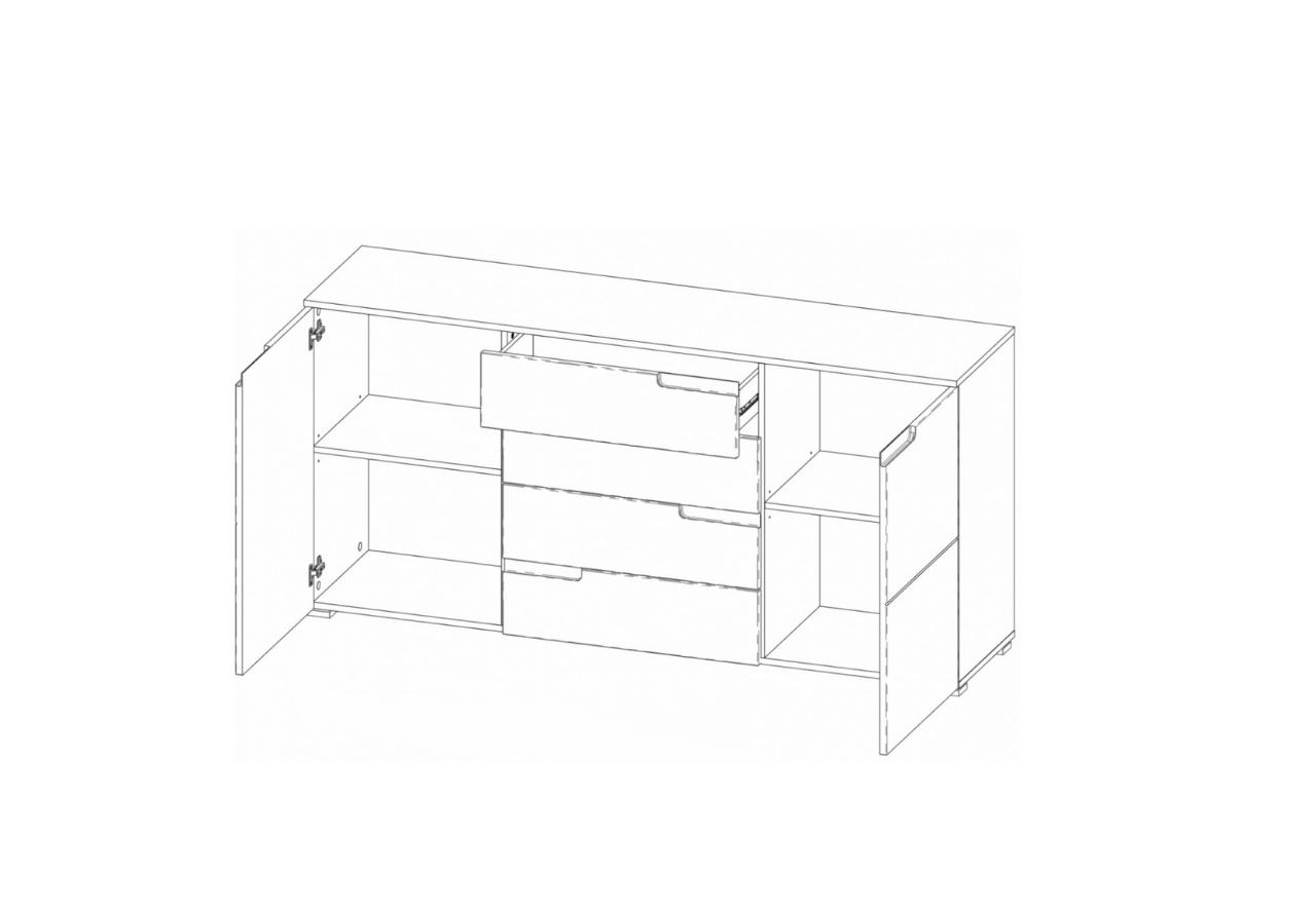 Komoda SELENE 8 2-drzwiowa z 4 szufladami biały połysk SZYNAKA MEBLE