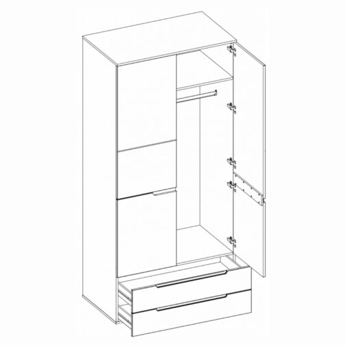 Szafa SELENE 28 2-drzwiowa z szufladami biały połysk SZYNAKA MEBLE