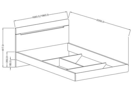 Łóżko HEKTOR TYP 32 antracyt połysk HELVETIA