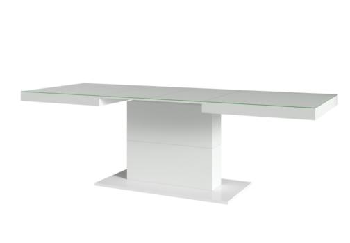 Stół QUARTZ TYP 81 rozkładany biały połysk białe szkło HELVETIA