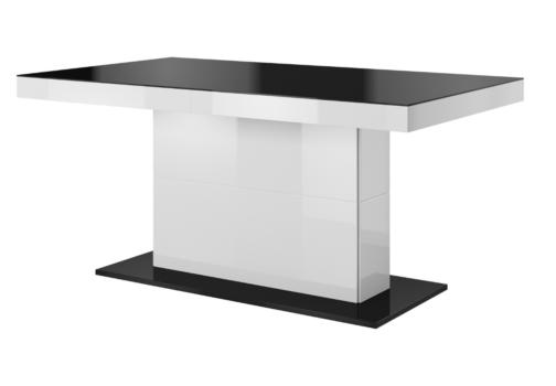 Stół QUARTZ TYP 81 rozkładany biały połysk czarne szkło HELVETIA