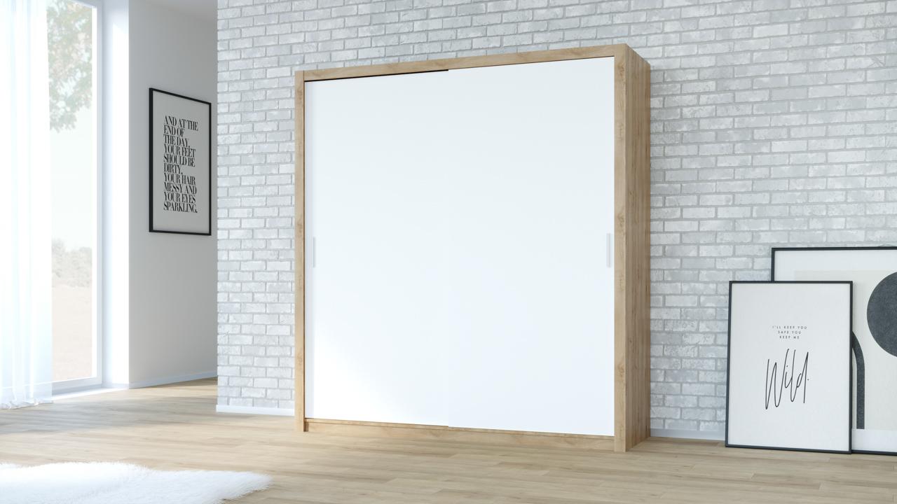 Szafa przesuwna VISTA 200 dąb artisan / biały